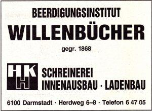 """Anzeige Willenbücher im """"Darmstädter Echo"""" 1988"""