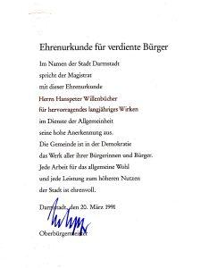Ehrenurkunde Hanspeter Willenbücher - 1991