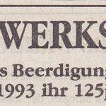 Anzeige Schreinerei und Beerdigungsinstitut Willenbücher, Juli 1993
