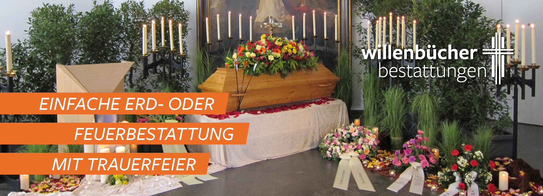 Einfache Erd- oder Feuerbestattung mit Trauerfeier